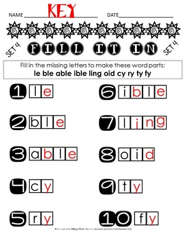 Reading Intervention: Advanced Decoding Word Parts FILL-IN SUMMER PRINTABLES