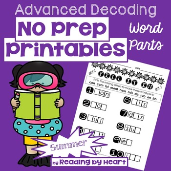 Decoding Multisyllabic Words WORD PARTS FILL-IN SUMMER PRACTICE Intervention