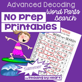 SUMMER READING Decoding Multisyllic Words PARTS WORD SEARCH