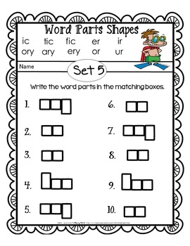 Reading Intervention: Advanced Decoding Word Parts SHAPES SUMMER PRINTABLES