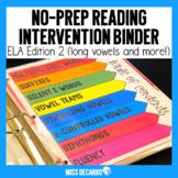 Reading Intervention Binder No Prep 2nd Edition