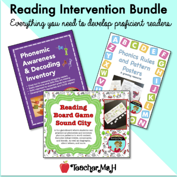 Reading Intervention Bundle with Assessments, Phonics Posters, and Reading Game