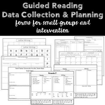 Guided Reading Organization and Data Collection {small group or intervention}