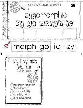 Reading Intervention Decoding Multisyllabic Words Cut & Paste December Challenge