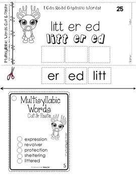 Decoding Multisyllabic Words CUT & PASTE DECEMBER REINDEER Reading Intervention
