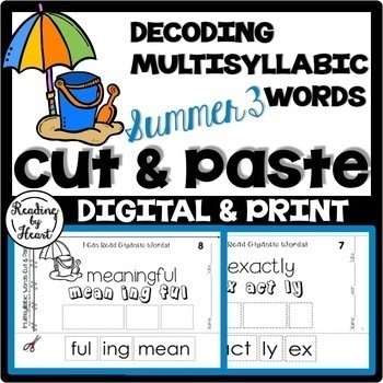 Reading Intervention Decoding Multisyllabic Words Cut & Paste SUMMER 2