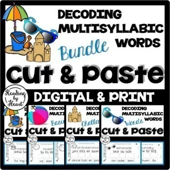 Reading Intervention Decoding Multisyllabic Words Cut & Paste SUMMER BUNDLE