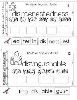 Reading Intervention Decoding Multisyllabic Words Cut & Paste SUMMER CHALLENGE