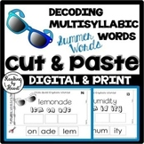 SUMMER READING Decoding Multisyllabic Words CUT & PASTE Su