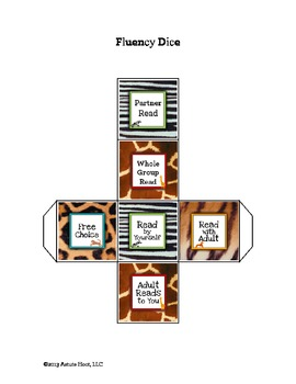 Reading Intervention Dice: Reading Fluency and Comprehension, Animal Print