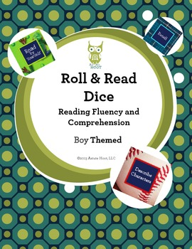 Reading Intervention Dice: Reading Fluency and Comprehension, BoyThemed