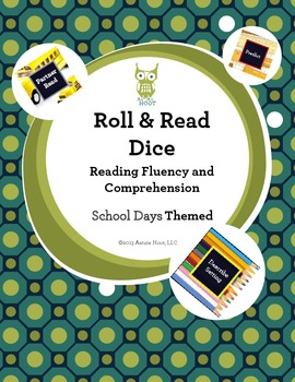 Reading Intervention Dice: Reading Fluency and Comprehension, School Days Themed