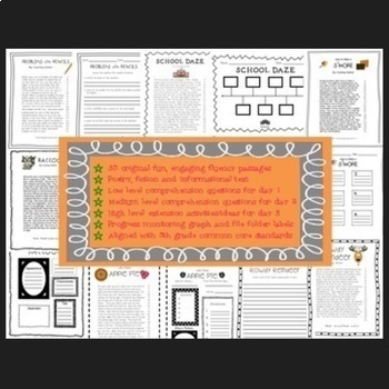 Reading Intervention Fifth Grade Year Long Bundle (Fluency & Comprehension)