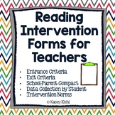 Reading Intervention Forms for Teachers