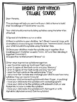 {Reading Intervention} French Syllable Sound practice for beginning readers