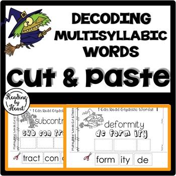 Reading Intervention Multisyllabic Words Cut & Paste Hallo