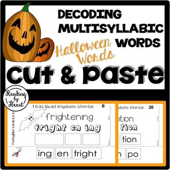 Reading Intervention Multisyllabic Words Cut&Paste Hallowe