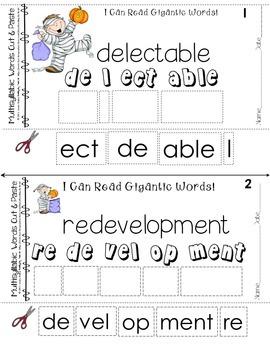 Reading Intervention Multisyllabic Words Cut & Paste October Kids Decoding