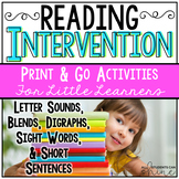 Reading Intervention Bundle K-1st Grade - Printable for Di