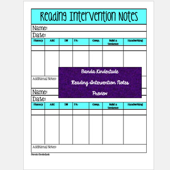 Reading Intervention Notes