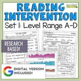 Reading Intervention Program Set 1 Level Range A-D