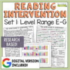 Reading Intervention Program: Set One Level Range E-G RESEARCH BASED!