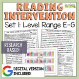 Reading Intervention Program Set 1 Level Range E-G