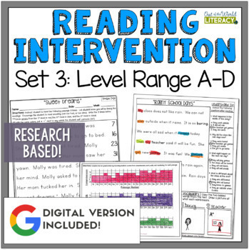 Reading Intervention Program-Reading Passages, Comprehension, Fluency, Word Work