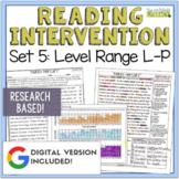 Reading Intervention Program Set 5 Level Range L-P