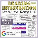 Reading Intervention Program Set 4 Level Range L-P
