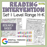 Reading Intervention Program Set 1 Level Range H-K