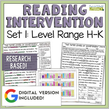 Reading Intervention Program: Set One Level Range H-K RESE