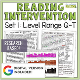 Reading Intervention Program Set 1 Level Range Q-T