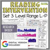 Reading Intervention Program Set 3 Level Range L-P
