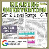 Reading Intervention Program Set 2 Level Range Q-T | Dista