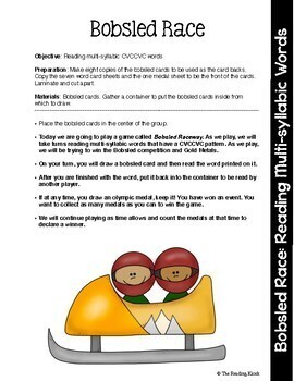 Reading Intervention Games Winter Sports Theme