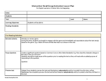 Reading Intervention Small Group Instruction Lesson Plan