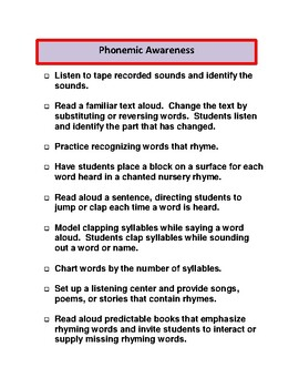 Reading Intervention Strategies and Activities