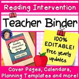 Reading Intervention Teacher Binder - Updated for 2018 - 2019