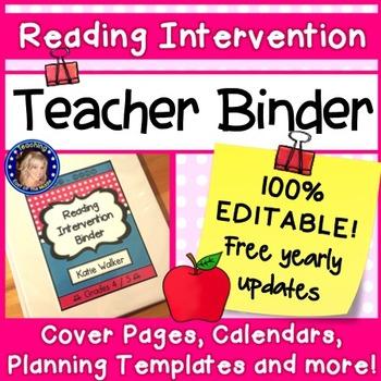 Reading Intervention Teacher Binder