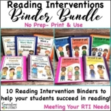 Reading Interventions Binder Bundle