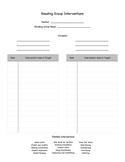 Reading Interventions Recording Sheet