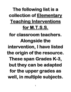 Elementary Reading Interventions for Classroom Teachers