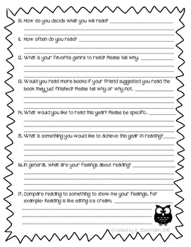 Reading Inventory Freebie for Middle Schoolers
