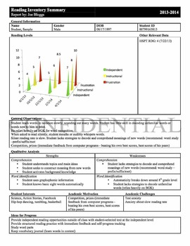 Reading Inventory Summary Form - Customizable RtI tracking