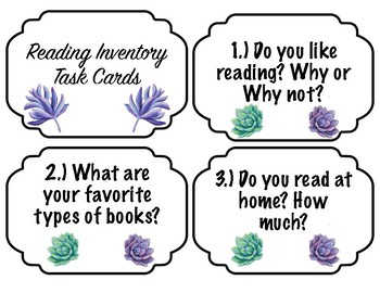 Reading Inventory Task Cards