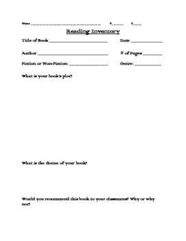 Reading Inventory for Independent Reading Book