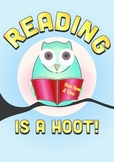 Reading Is A Hoot! Owl Themed Decorative Classroom Poster A3