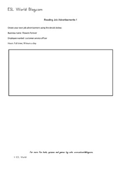 Reading Job Advertisements Activity Sheets