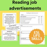 Reading Job Advertisements for ESL and life skills
